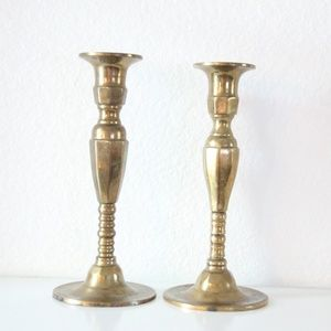 Vintage Brass Bundle of 2 Candle Sticks